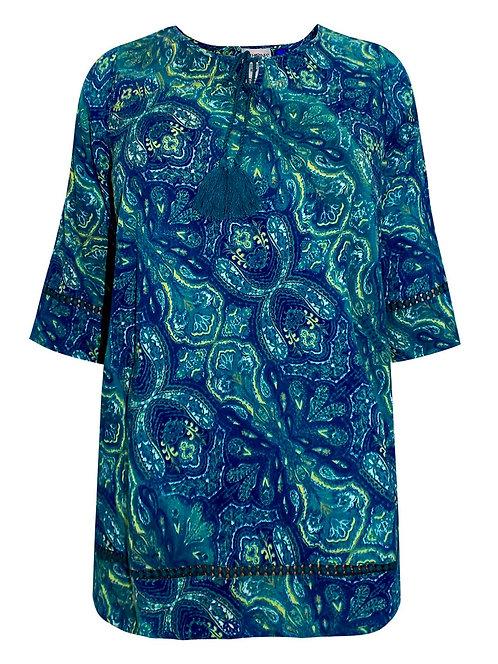 Crinkle Cotton Paisley Tunic Top Plus Size 26/28 & 38/40 crochet trim hem [478]