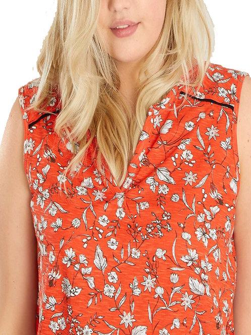 Kiabi Orange Floral Sleeveless Top Plus Size 18/20 22/24 30/32  [326]