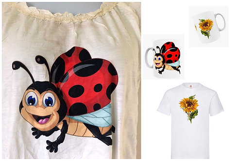 Exclusive Cute Ladybug Bike Sunflower Top Plus Size 16-24 3X-5X & Matching mugs