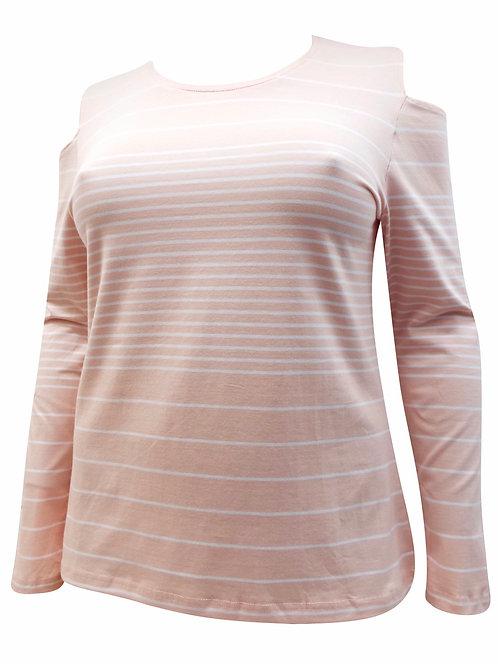 Peach Cut out shoulder stripe jersey cotton top Sizes 18-24  [310]