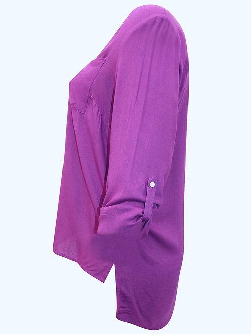 Magenta Dip hem Shirt from Cellbes Sizes 16-26 Roll tab sleeves [422]