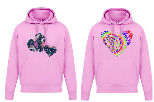 Womens Pink love heart hoodie Plus Sizes 16-34