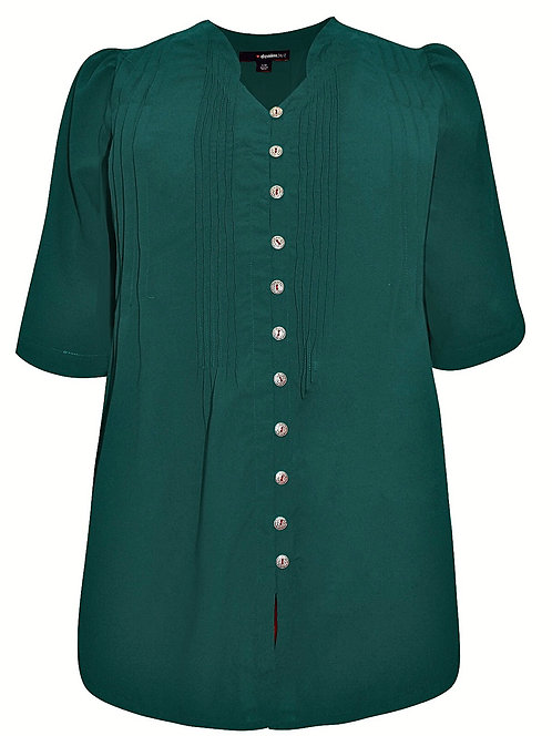 Roamans Pintuck Blouse Fit n Flare Top plus Sizes 18-30 Forest green [418]