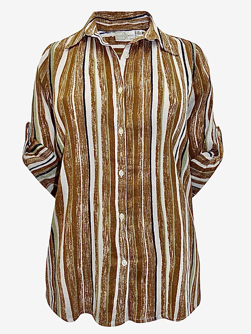 Autumn Striped Blouse Roll tab sleeve Size 18/20 22/24 crinkle [308]