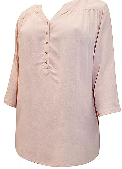 Thea Dusky Peach Long Henley Crepe Shirt Plus Sizes 22-32  Blush Tunic [402]