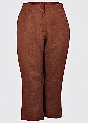 Linen blend crop trousers Plus size 18 20 22 24 26 28 30 [443]