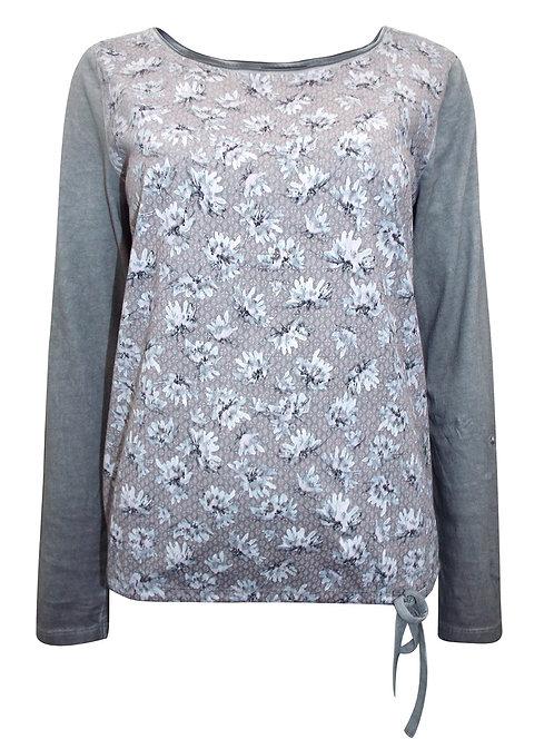 Grey Roll Tab Sleeve Jersey Print top Sizes 16-26 Gina Benotti  [400]