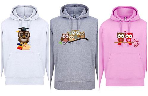 Women's Owl hoodie Plus Sizes 16-34 Rose pink/Black/Grey White