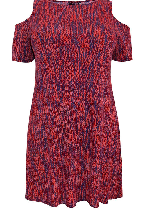 Navy & Orange Print Jersey Tunic Dress Size 20 22 24 26 RRP £30 [247]