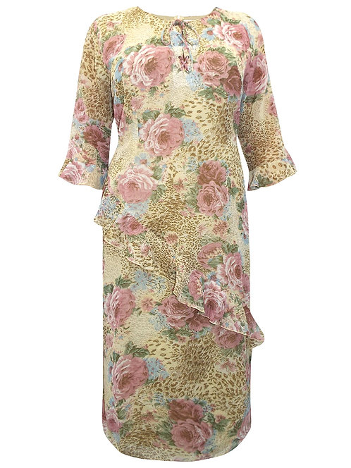 C&A Rose Print Chiffon Dress Plus Sizes 16-30 [320]