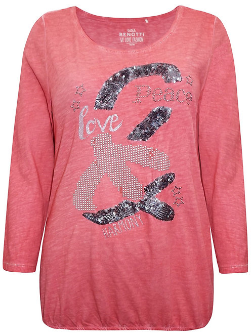 Deep pink jersey Love & Peace embellished top Plus Size 16 -28 Diamanté  [401]