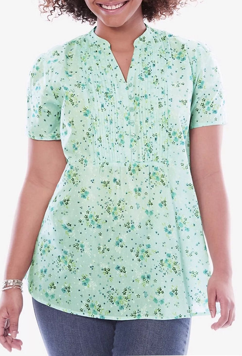 Woman within mint green floral blouse Plus Sizes 18-40 pintuck button  [444]