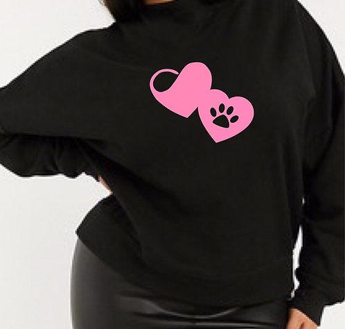 Black Paw Print Sweater Size 14 16 18 20 22  LIGHTWEIGHT Animal lovers