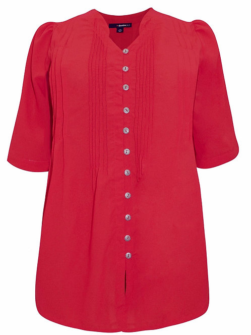 Roamans Pintuck Red Blouse Top plus Sizes 18-26 SECONDS  [417]