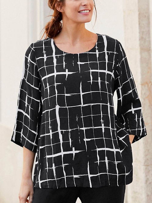 Black & white print Blouse top plus size 16/18 20/22 [382]