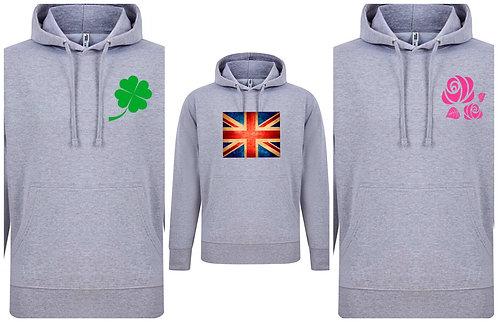 Exclusive hoodie Plus Sizes 16-34 Rose Clover Union Jack Black/Grey