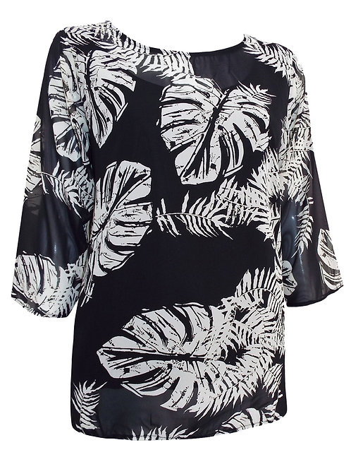 Black leaf chiffon blouse top & cami Size 18 20 22 24 26 28  [238]