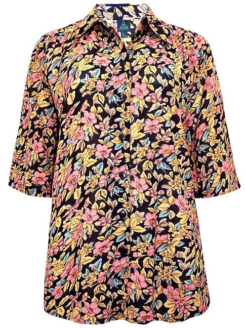 Long Black Floral Shirt Plus Size 18-34  [321]