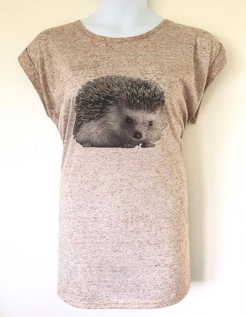 Exclusive Cute Hedgehog Print Top Plus Size 16-36 Linen blend jersey [450]