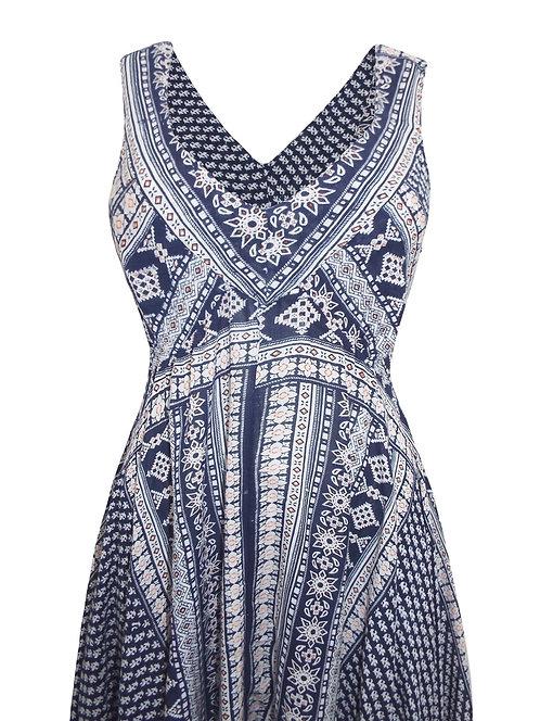 Navy Print Hanky Hem Diva Dress Plus Size 18 20 22  [291]