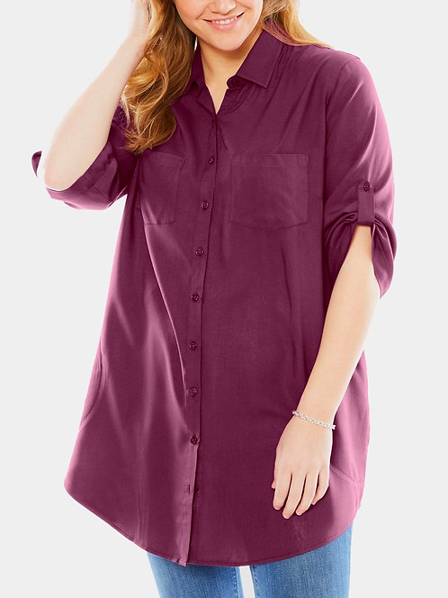 Woman Within Plus Size 16-28 Long Length Plum Shirt [420]