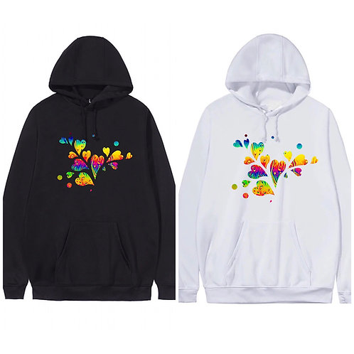 Black Pink or White love heart hoodie Plus Sizes 16-34