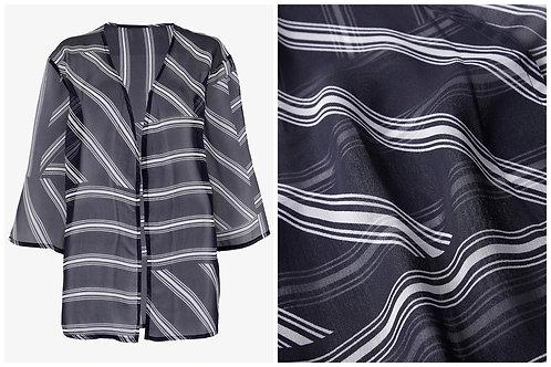 Navy striped chiffon kimono Size 18 20 22 24 26 Kaftan shrug [354]