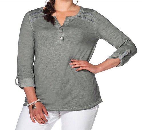 Sheego oil wash Grey jersey top Plus Size 16-32 lace trim roll tab sleeve [366]