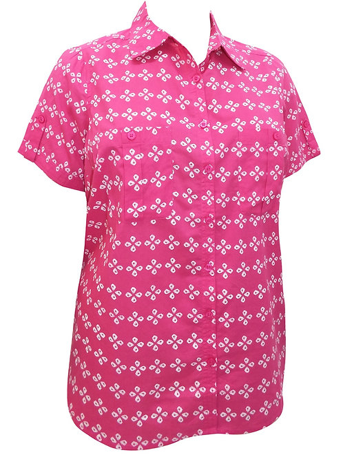 Woman Within Fuscia pink cotton printed shirt plus sizes 20-42 Blouse top  [220]