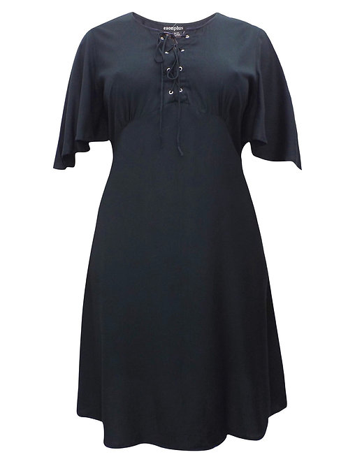 Black lace up eyelet dress Plus Size 18/20 22/24 26/28 30/32 [342]