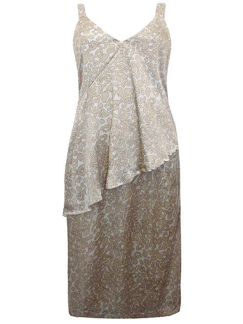 Cream & Gold Satin Print Dress Plus sizes 18/20 22/24 26/28 [472]