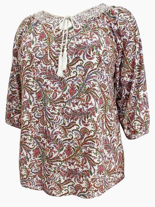 Paisley Cotton Jersey Tassel Tie Top Plus Size 18/20 22/24 [270]