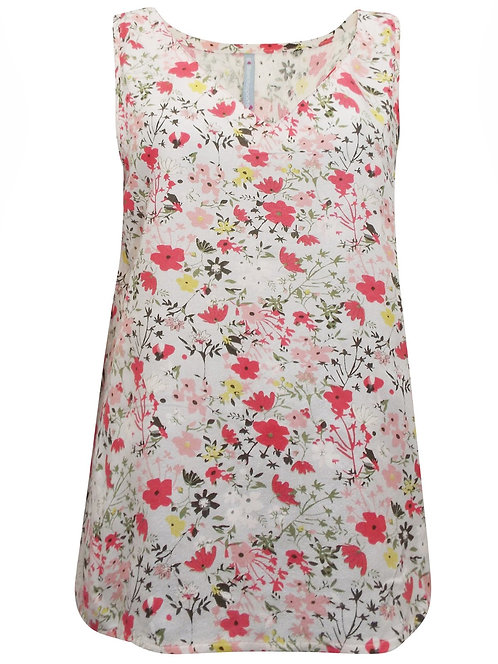 Pretty Ivory Floral Sleeveless Blouse Top Plus Size 16-22  [316]