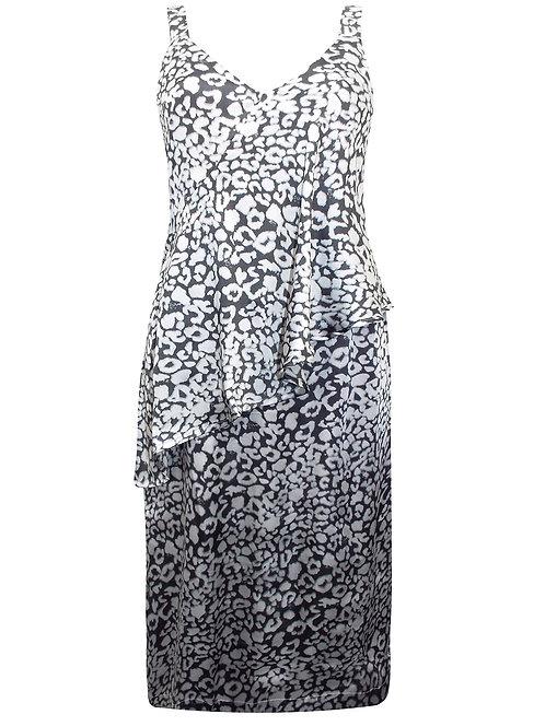 Grey & Silver Satin Print Dress Plus sizes 18/20 22/24 26/28 [471]