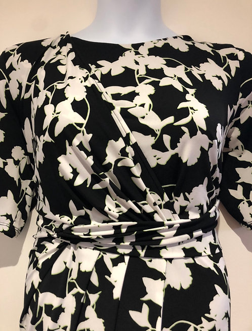 Anthology Black & White Mock Wrap Dress Size 22  [426]