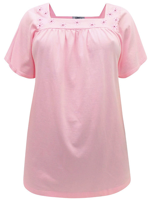 Pink Stretch Cotton Plus sizes 22-36 Floral Broderie Anglaise Top [323]