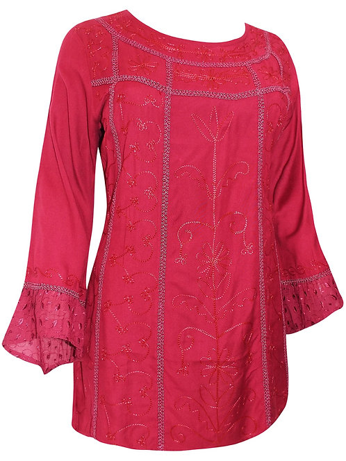 Burgundy Red Luxury Embroidered Blouse Sizes 18-32 Renaissance Top [476]
