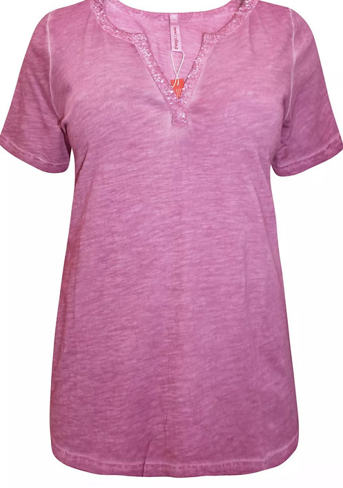 Sheego Pink sequin embellished oil wash Jersey cotton top Size 18-32 [288]