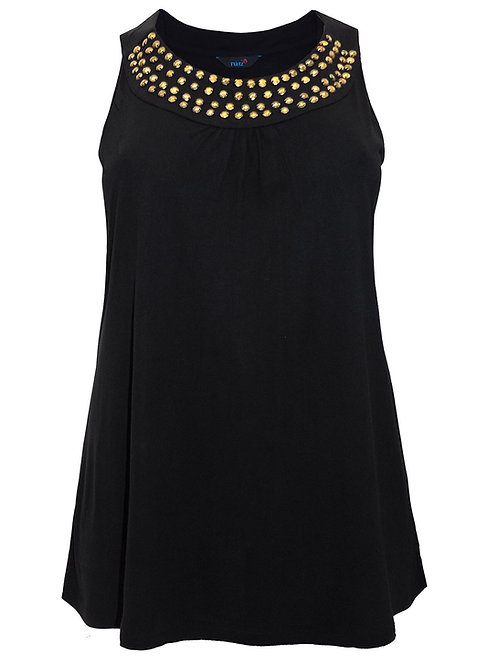Black Sleeveless A-line top Antique Gold effect Studs Sizes 16-30 [477]