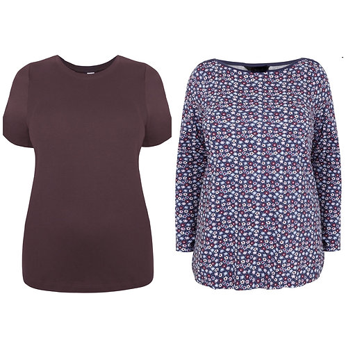 Value pack of x2 T-shirt's Plus Size 18 20 22/24 New Look/Yours [309]