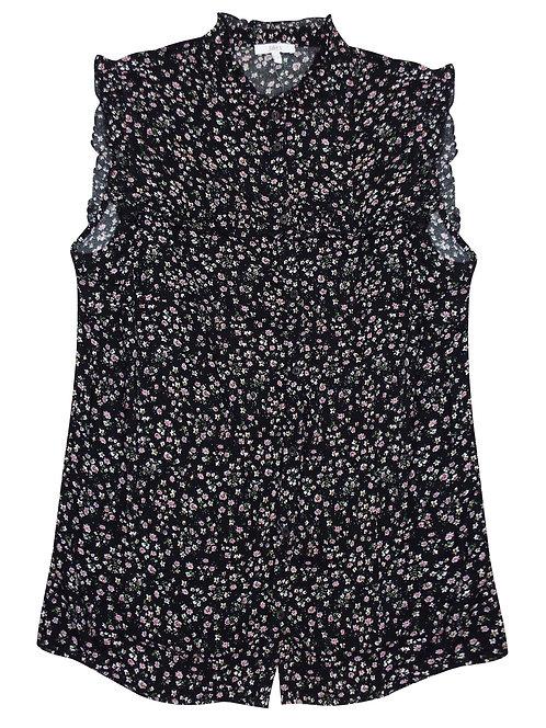 Black Ditsy Floral Ruffle Trim Shirt Size 16/18 [335]