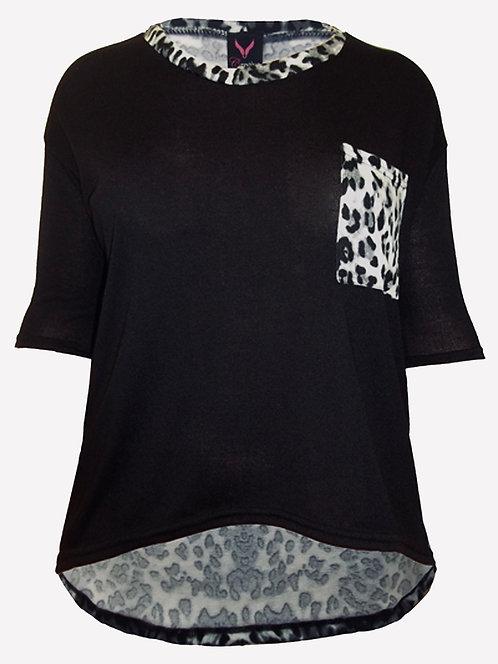Black Jumper knit top animal print plus sizes 18/20 22/24 [272]