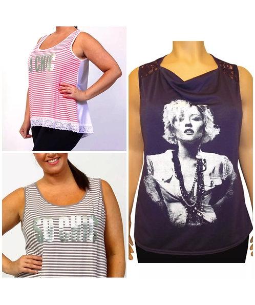 Pack of x3 lace trim & Foil Logo T-shirt's Plus Size 22/24 vest Tops [451]