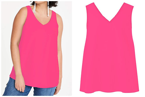 Anthology Striking Neon Pink Woven sleeveless blouse Plus Size 16 18 20  [356]