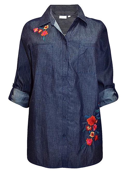 Embroidered dark blue denim shirt Plus Size 18/20 22/24 26/28 Roll tab  [452]