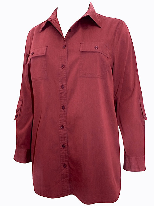 Cotton Rich Ruby Red Shirt Plus Size 18-40 Roll back 3/4 sleeve  [322]