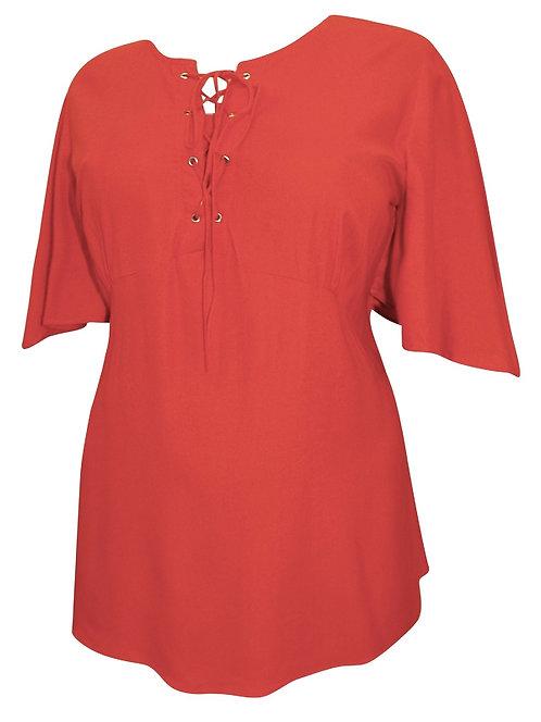 Burnt Orange Lace up Top Plus size 18-32 Short Fluted sleeve Blouse [473]