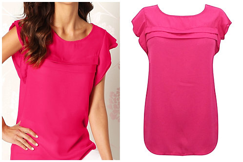 Fuscia Pink Frill Blouse Top Plus Size 16-26  [351]
