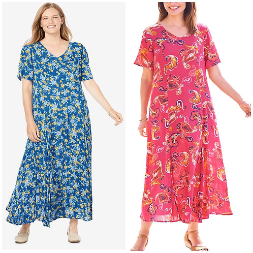Woman within crinkle dress sizes 22-42 Pink Paisley or Blue Floral 2X to 6X