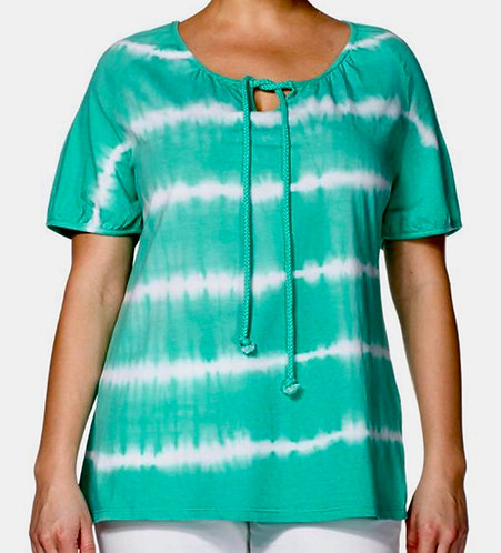 Green Striped Jersey Tie Dye Top Plus Size 18/20 22/24 26/28 30/32  [363]